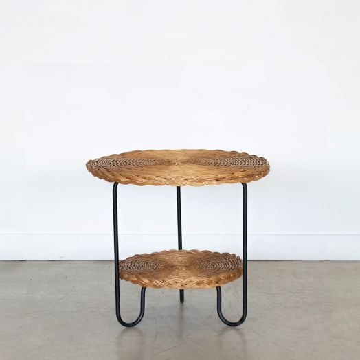 French Wicker and Iron Gueridon Table