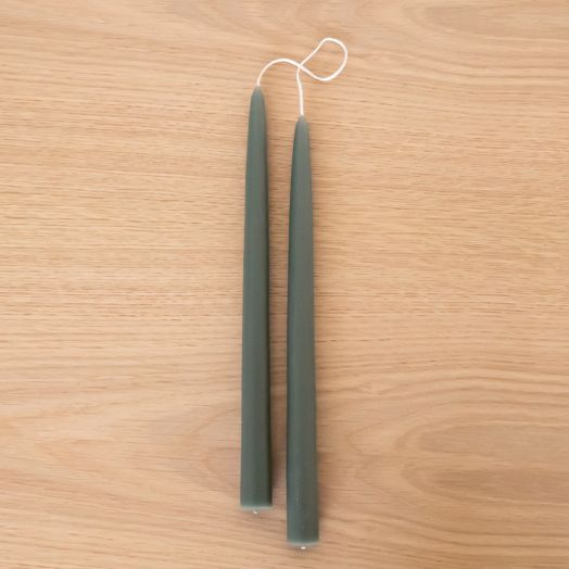 """12"""" Tapered Candles, Moss"""