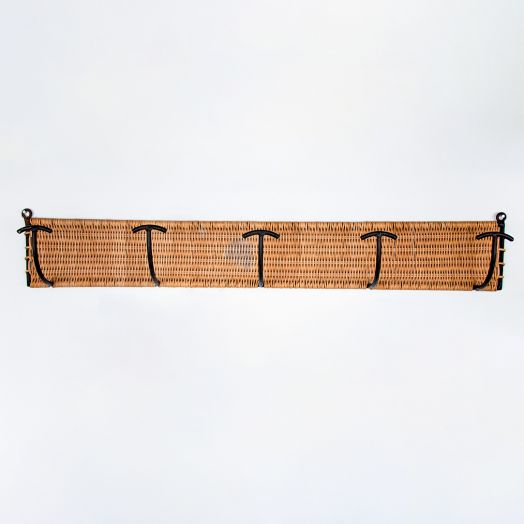 French Wicker and Iron 5 Hook Wall Rack