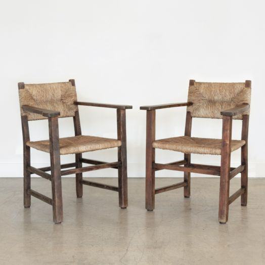 Pair of French Rustic Wood and Woven Chairs