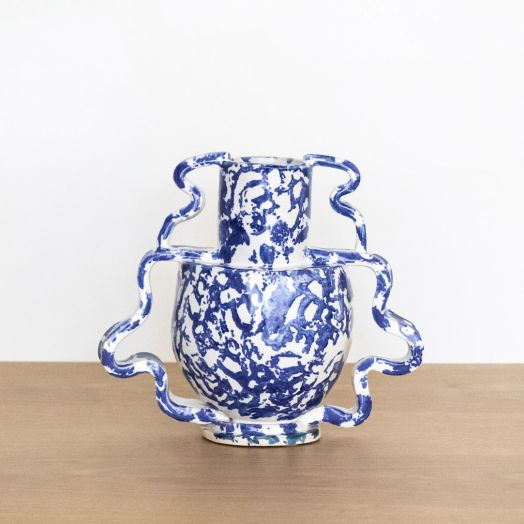 Double Stretch Vase, Blue and White
