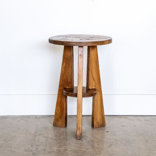 French Wood Two-Tier Stool
