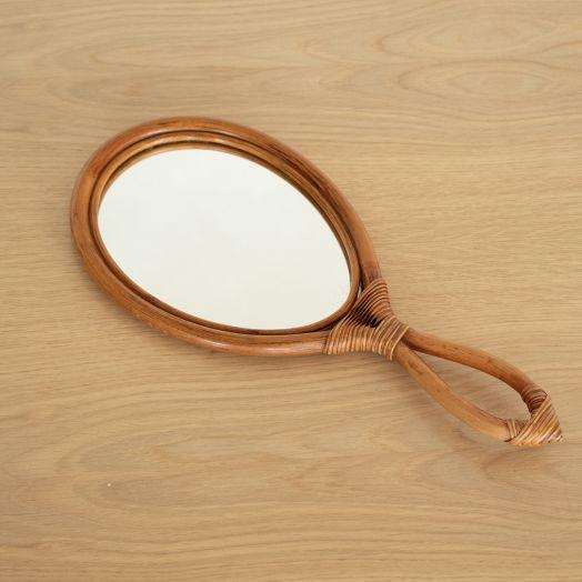 French Bamboo Hand-Held Mirror
