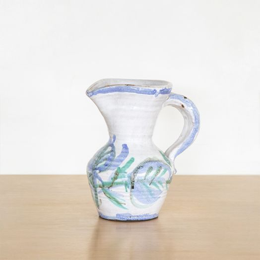 French Painted Ceramic Pitcher