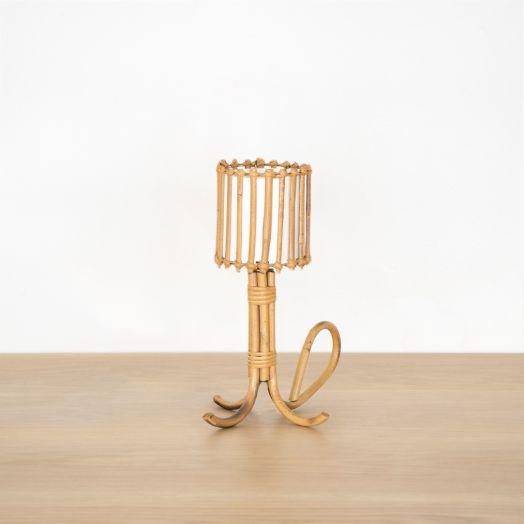 Petite French Rattan Lamp with Tripod Base