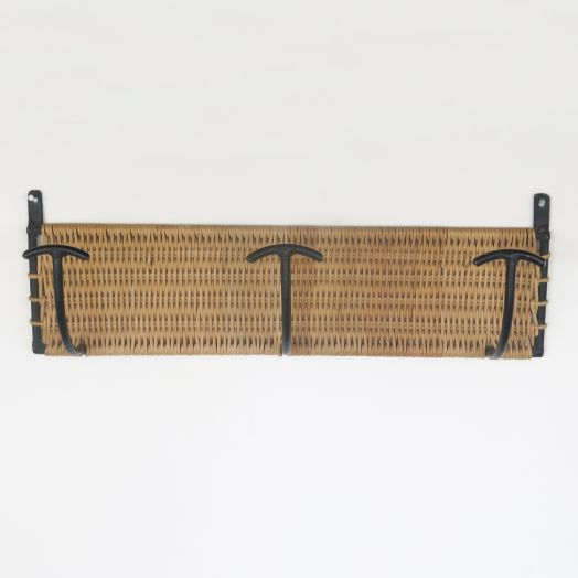 French Wicker and Iron Wall Rack, 3 Hook