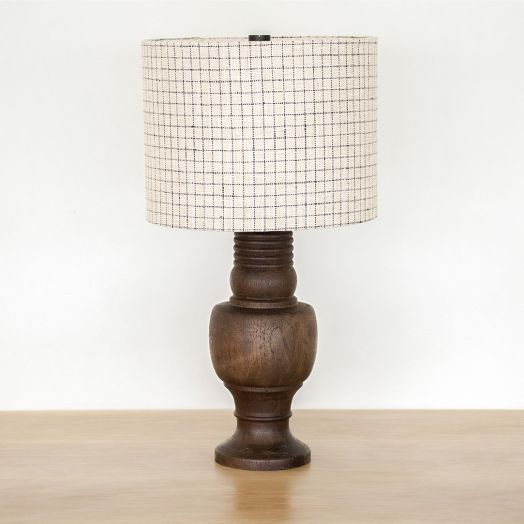 Large French Carved Wood Lamp