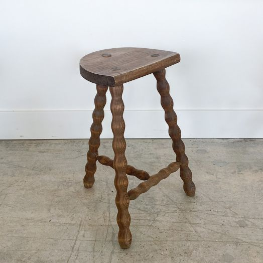 Tall French Wood Tripod Stool - ON HOLD