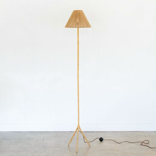 French Woven Floor Lamp with Rope Shade
