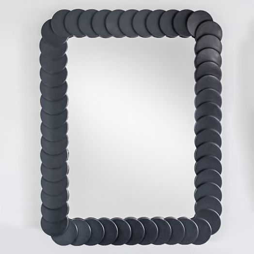 Massive Gray Lacquered Circle Mirror