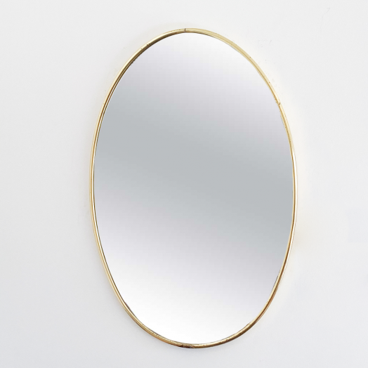 Italian Brass Oval Mirror