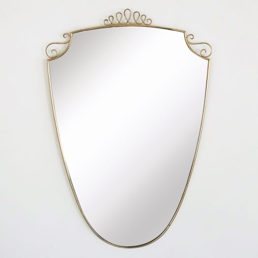 Italian Brass Shield Mirror with Loop Detail