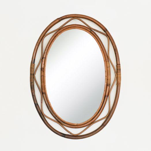 Large Oval Rattan Mirror