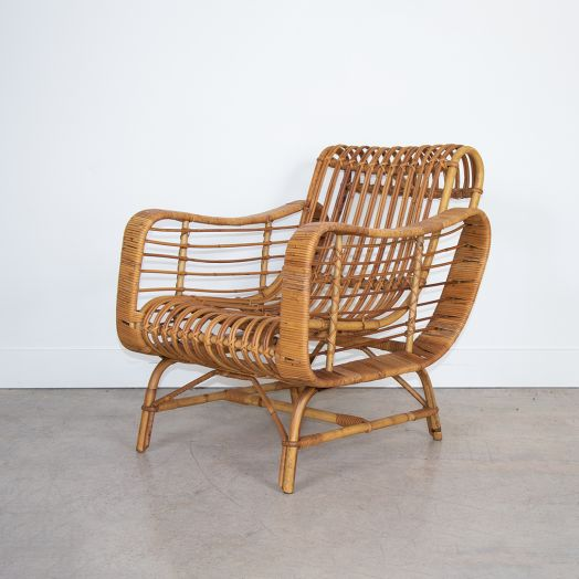 Italian Rattan Lounge Chair
