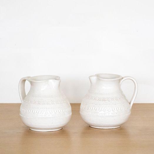 Italian Etched Ceramic Pitcher by Bitossi