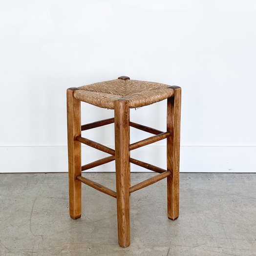 French Wood and Woven Stool, Single