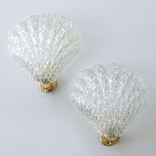 Pair of Italian Murano Glass Shell Sconces