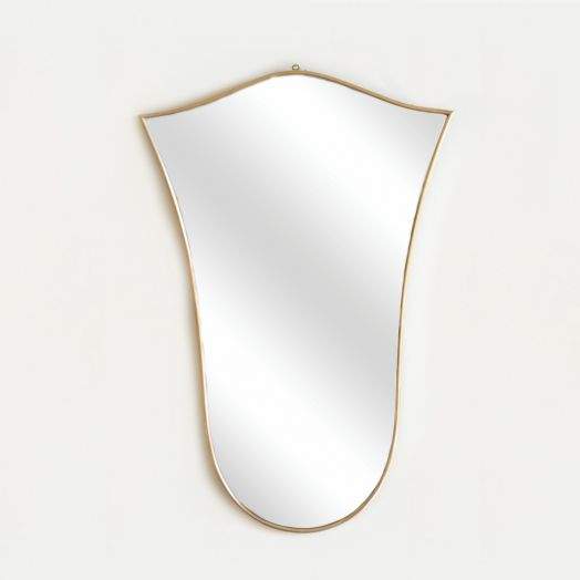 Slender Italian Brass Shield Mirror