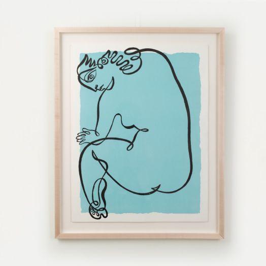 Line Drawing by Jean Negulesco, Blue