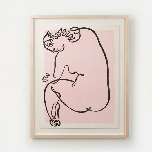 Line Drawing by Jean Negulesco, Pink