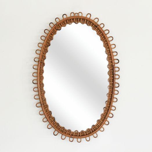 Italian Oval Rattan Mirror