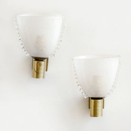Italian Barovier Scalloped Glass Sconces - ON HOLD