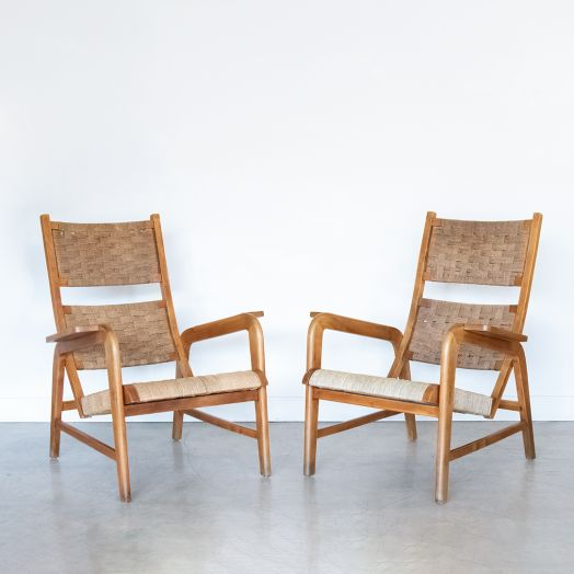 Pair of Italian Wood and Woven Lounge Chairs