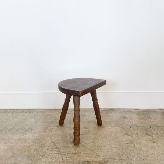 Petite French Wood Tripod Stool