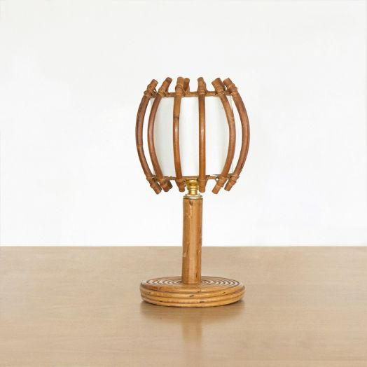 Petite French Rattan Lamp with Orb Shade