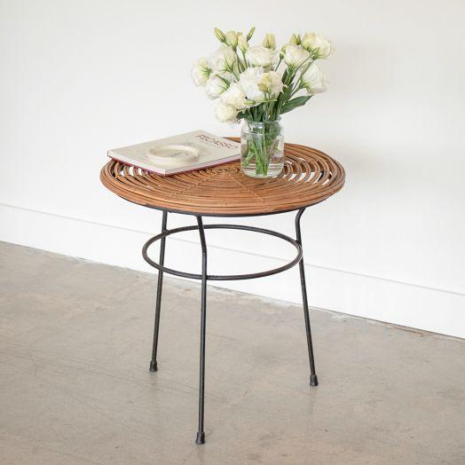 Italian Rattan and Iron Table