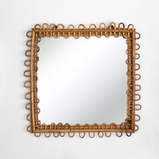 Italian Square Rattan Mirror