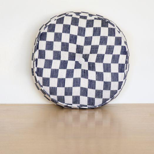 Blue Checkered Circle Pillow