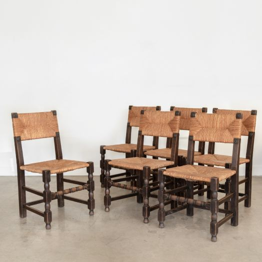 Set of 6 French Dining Chairs in the Style of Charles Dudouyt