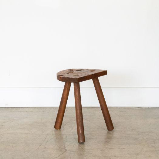 Short French Wood Tripod Stool