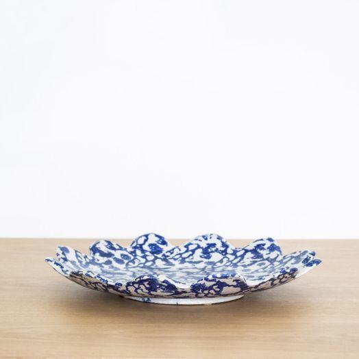 Ceramic Scalloped Platter, Blue and White