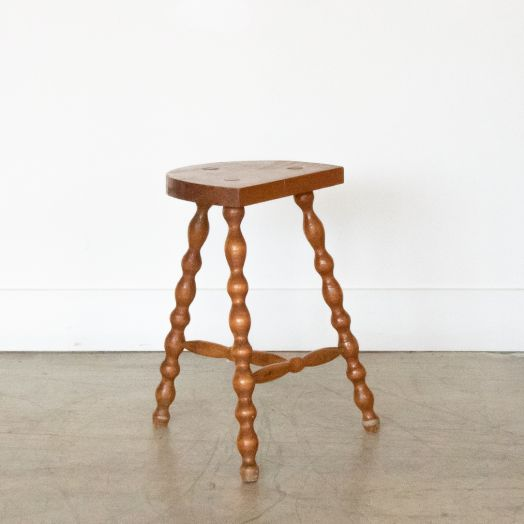 Tall French Wood Tripod Stool
