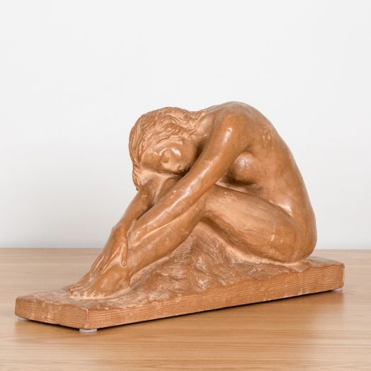 French Terracotta Sculpture of Nude Woman