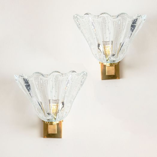 Italian Murano Scalloped Glass Sconces