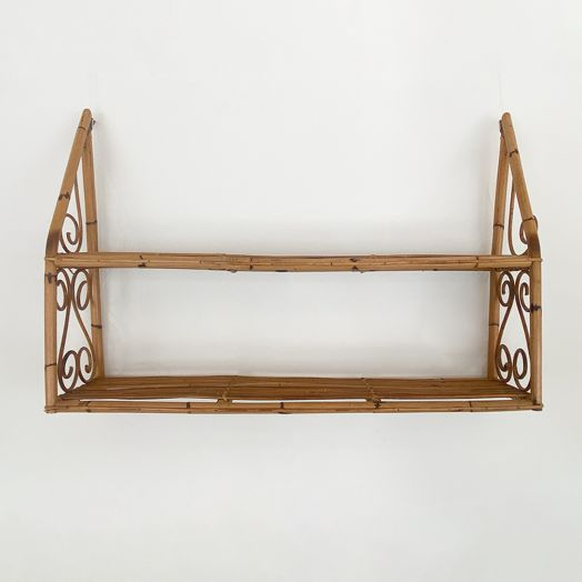 Italian Rattan and Bamboo Wall Shelf