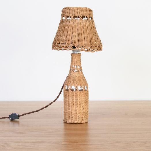 Petite French Wicker Bottle Table Lamp