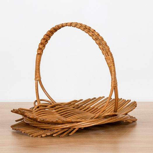 French Rattan Oval Tray with Handle