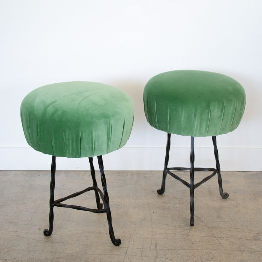 Pair of French Iron Twisted Stools