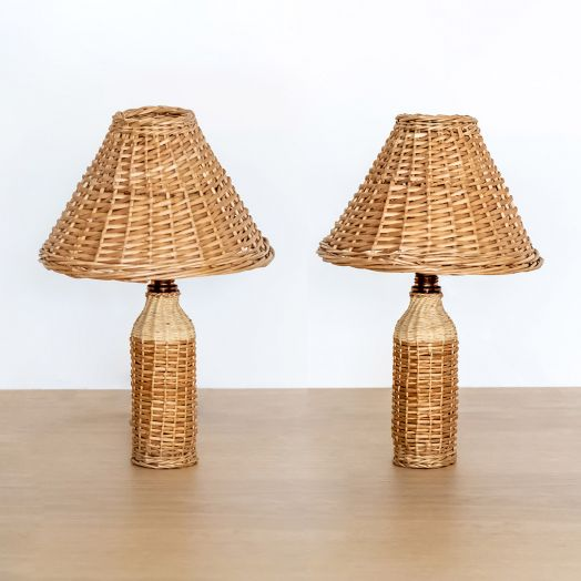 Pair of Petite French Wicker Bottle Lamps