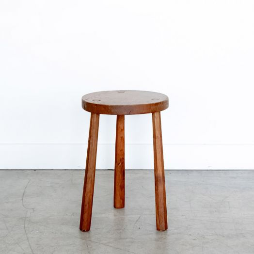 Tall French Wood Tripod Stool, Light Wood