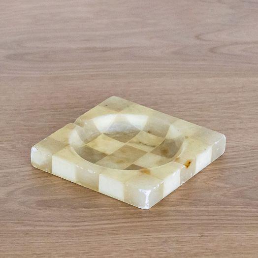 Italian Alabaster Checkered Ashtray