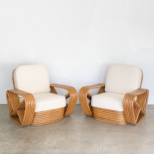 Rattan and Boucle Lounge Chairs in the Style of Paul Frankl