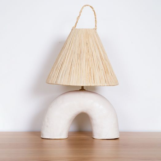 Ceramic and Raffia Volta Lamp