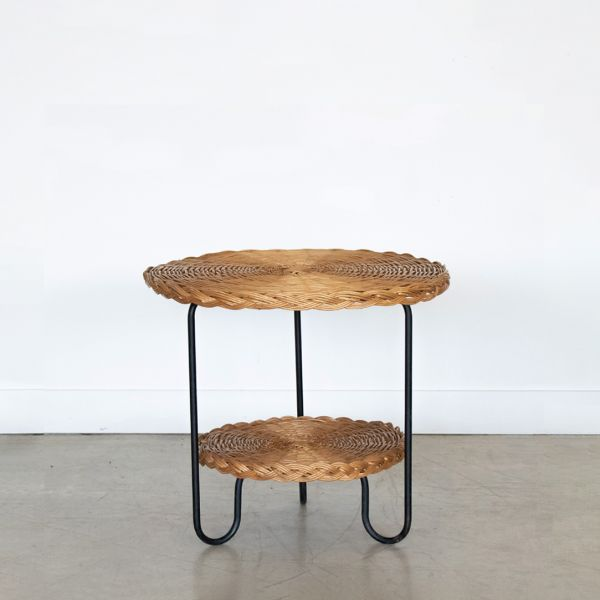 French Wicker and Iron Gueridon Table - ON HOLD