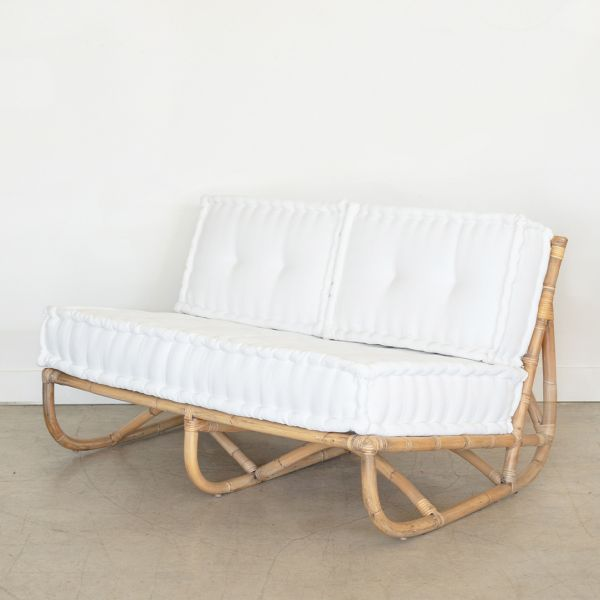 Vintage Rattan Settee with Cushions