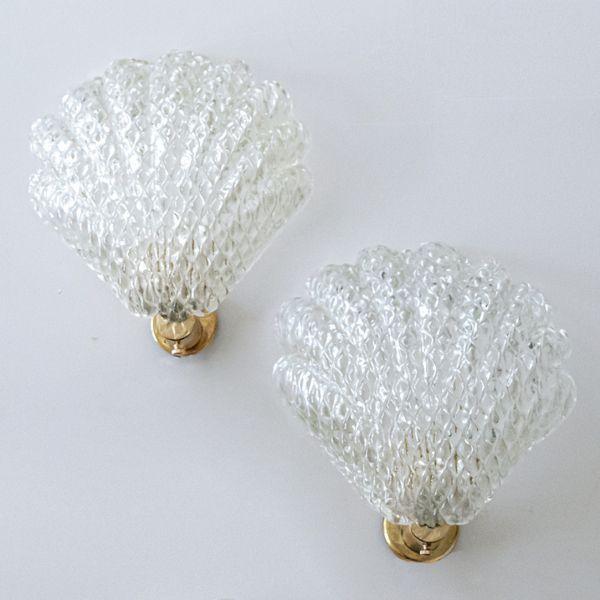 Pair of Italian Murano Glass Shell Sconces